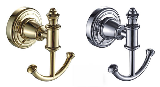 Chrom Gold Double Robe or Towel Hook 3253 for Hotel Bathrooms Bedrooms