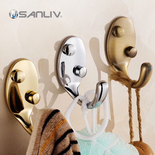 Coat Towel Robe Hook Bathroom Hardware in Chrome Gold Brushed Nickel