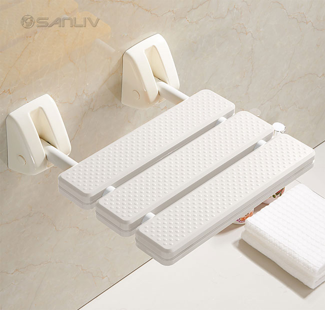 Folding Up Shower Seat ABS White Plastic