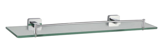 glass bathroom shelf with chrome rail
