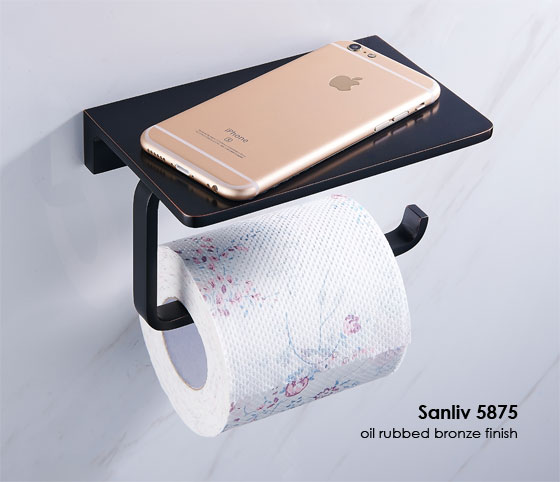 oil rubbed bronze hotel toilet tissue holder with cellphone shelf