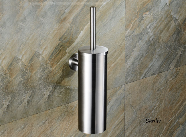 Free Standing Satin Stainless Steel Toilet Brush & Holder