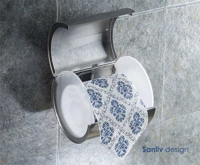 Sanliv Toilet Paper Roll Holder Satin Brushed Nickel Hotel Style