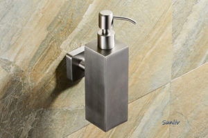 Square Brushed & Polished Stainless Soap Dispenser