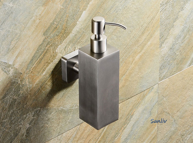 Square Brushed and Polished Stainless Soap Dispenser
