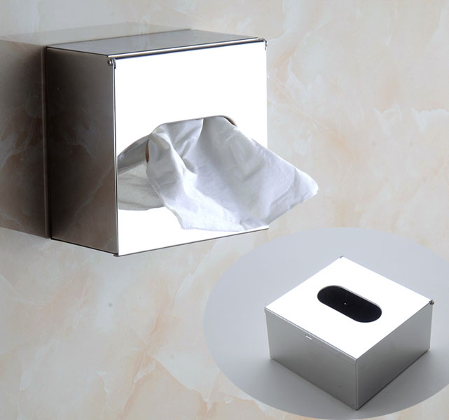 Modern Square Tissue Box Cover In Chrome Or Matte 5815