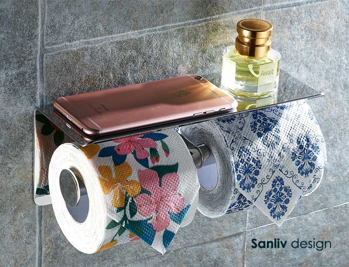 Stainless Steel Shelf and Double Toilet Tissue Holder