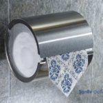 Satin Nickel Toilet Roll Holder with Cover 5879