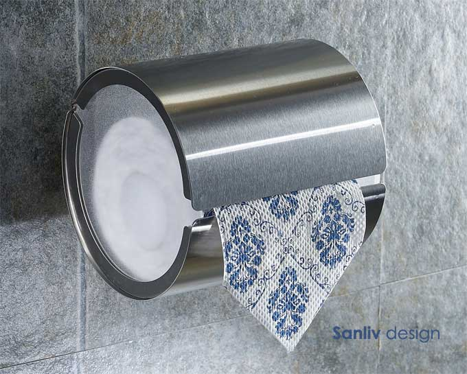 satin nickel toilet paper roll holder with cover 5879