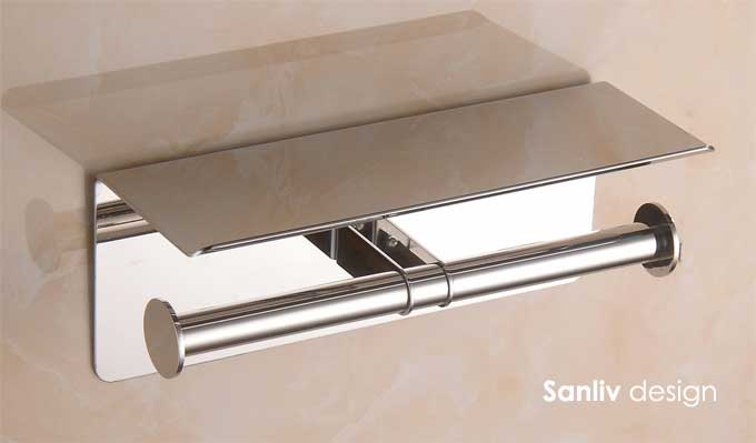 Twin Roll Toilet Paper Holder with Utility Shelf in Polished Chrome