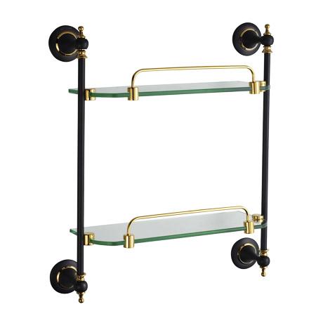 Two Tier Glass Shelf Oil Rubbed Bronze 3202