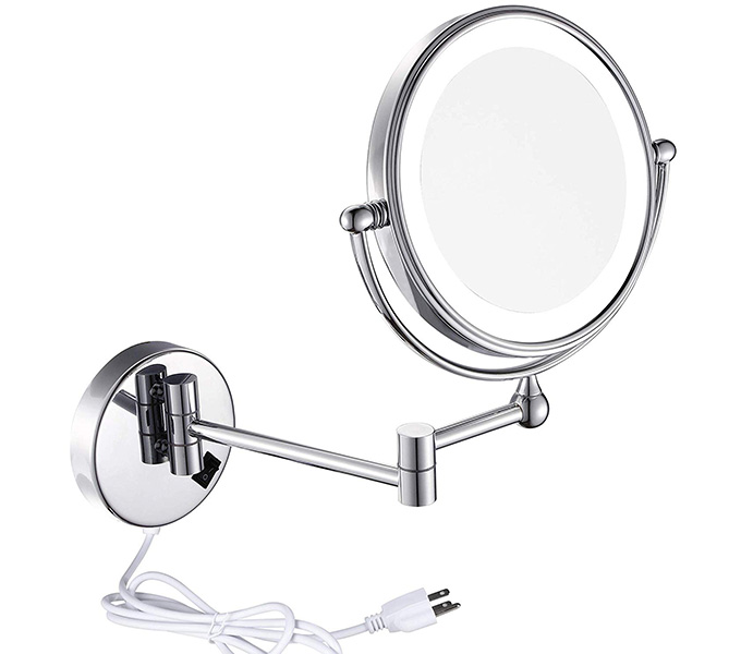 Sanliv 8-Inch Two-sided Swivel Wall Mounted Makeup Mirror LED Light with 5x Magnification, Chrome Finish 1006