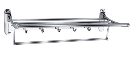 Swivel Towel Rack Shelf with Robe Hooks Bath Towel Holders by