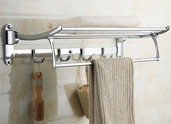 Swivel Towel Shelf with Robe Hooks 2211 Bath Towel Holders by