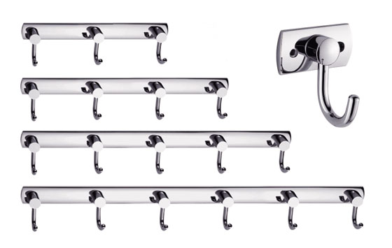 Wall Mounted Bathroom Towel or Robe Hook Rail