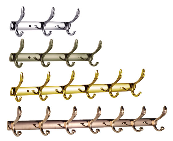Bathroom Robe Hook Rail in Chrome Gold Bronze
