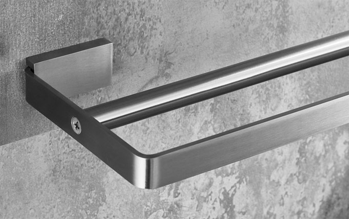 Sanliv Double Towel Rail in Brushed Satin Nickel Stainless Steel
