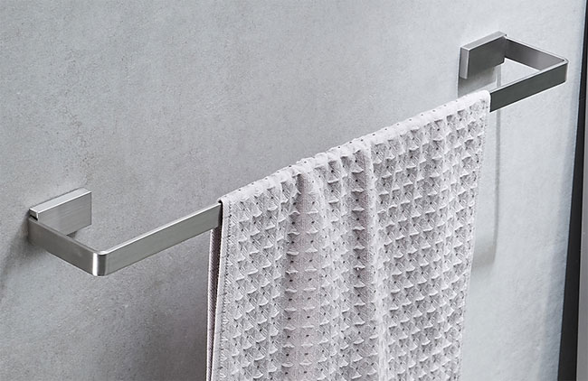Satin Nickel Stainless Steel Single Towel Bar for Hotel Projects