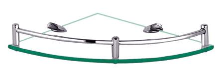 Clear Glass Large Corner Bathroom Shelf With Railing