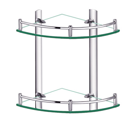 Two Tier Corner Gl Bathroom Shelf