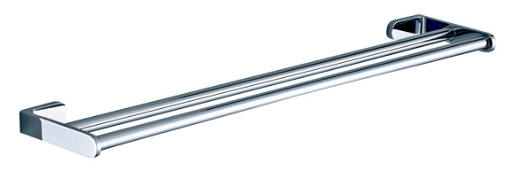 Contemporary Chrome Wall Mounted Double Brass Towel Bar 7948