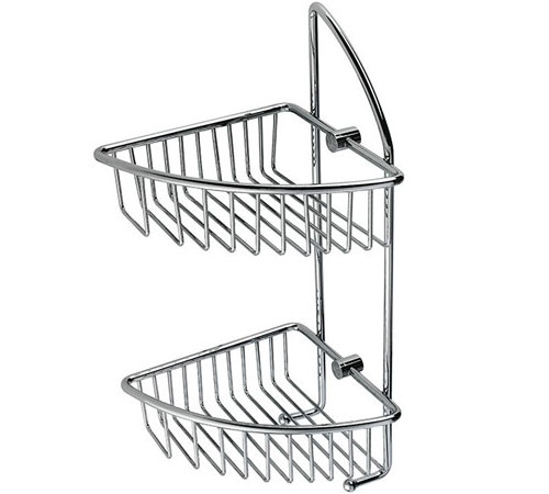 Wire Corner Double Basket Shower Caddy with Sponge Hooks B5121. Wire Corner Double Shower Basket with Sponge Hooks   Wire Basket