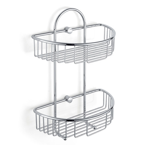 2 Tier Double shelf shower bottle holder b5122