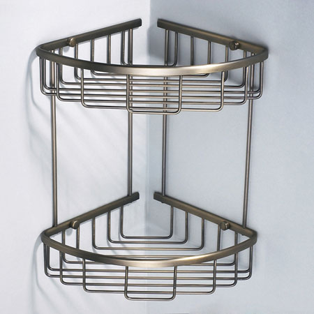 Double Corner Basket Shower Caddy Shelf B5123 - Wire Basket Shower ...