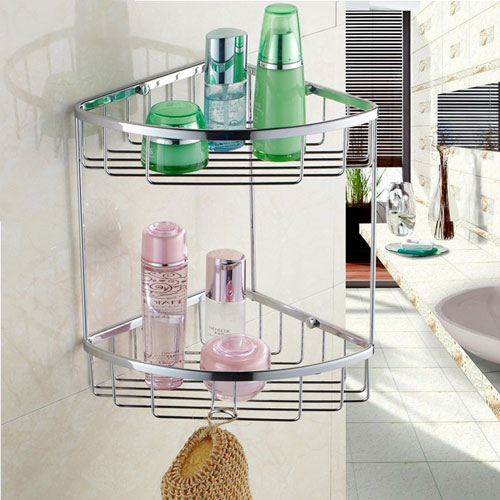 Chrome 2 Tier Double Shower Caddy Shelf B5125 - Wire Basket Shower ...