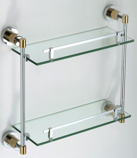 New double glass shelf by bathroom accessories - Bathroom accessories glass shelf ...