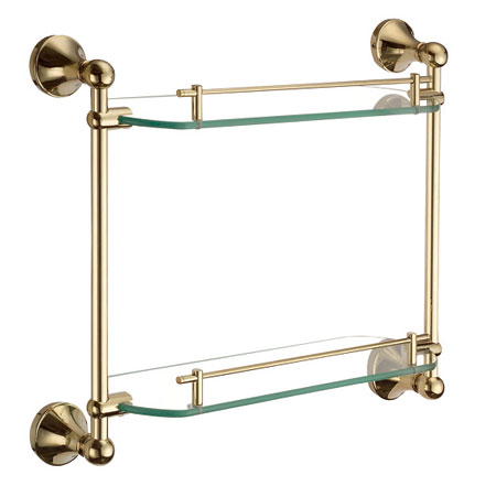Gold Double Tier Glass Bathroom Shelf 9102 Bathroom