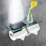 Double Roll Toilet Paper Holder with Covers and Glass Shelf