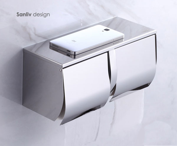 Double Toilet Roll Holder With Cover 5806