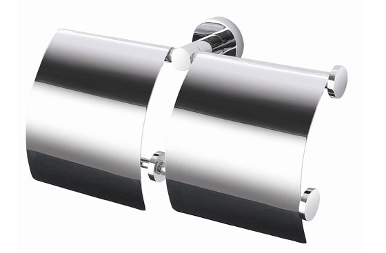 Chrome Plated Brass Standard/Hotel Double Spare Toilet Roll Holder With Cover 8751B