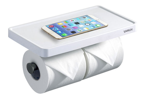 Double Toilet Roll Holder with Cellphone Storage Shelf