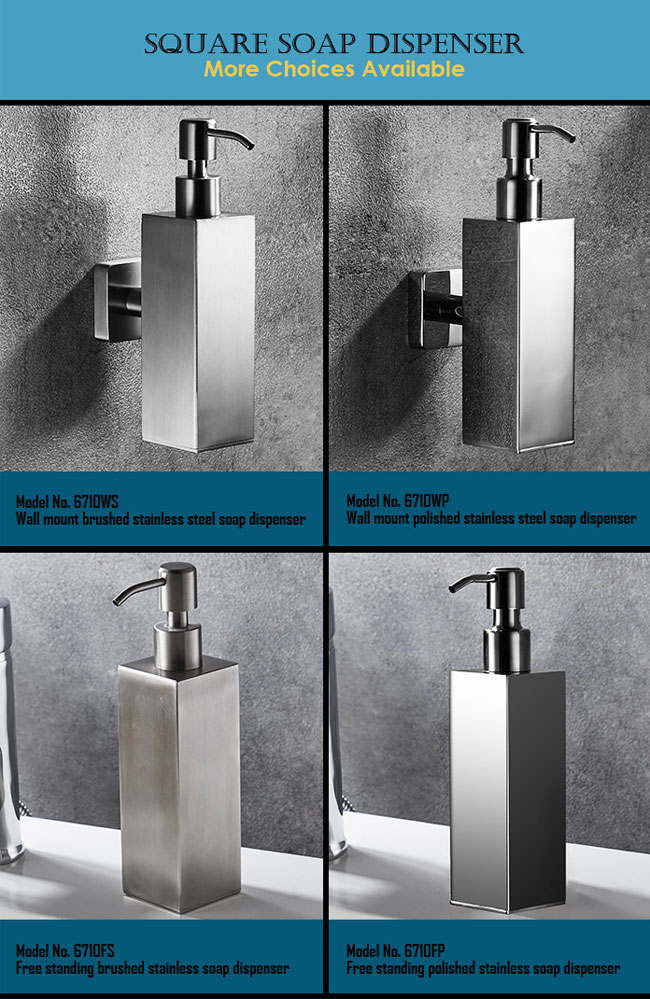 free standing soap dispenser in satin stainless steel