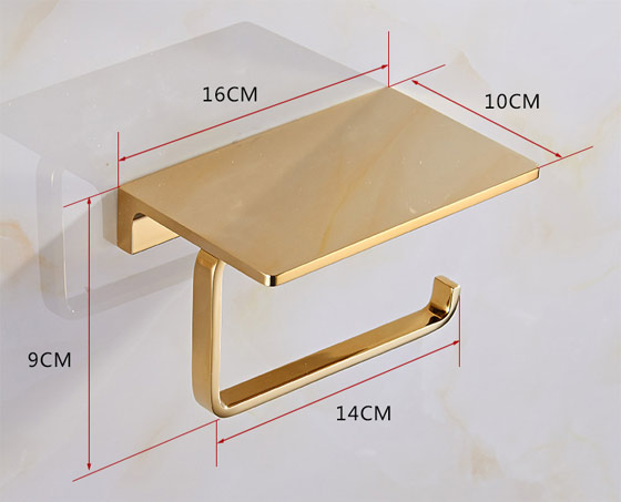 golden brass hotel toilet paper holder cellphone shelf