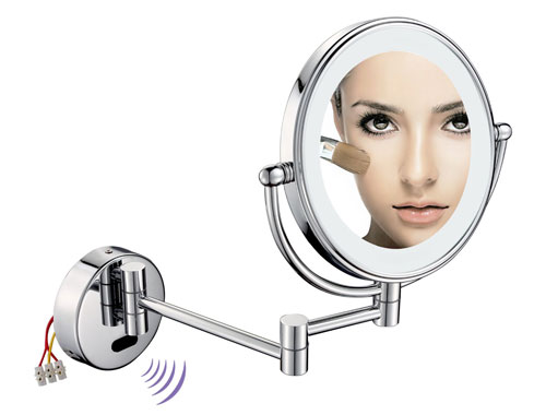 Wall Mounted Sensor-Activated LED Lighted Magnifying Shaving or Makeup Mirror 1007