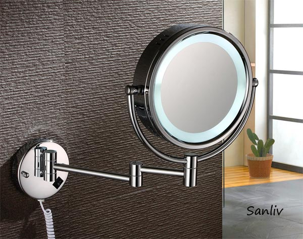 Brass Lighted Magnifying Shaving Mirror 1001