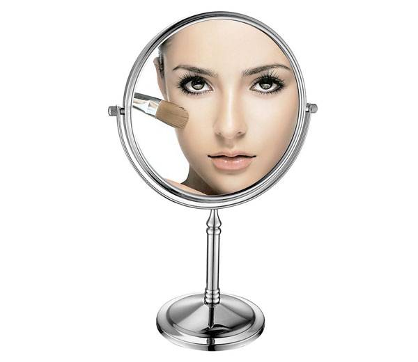 Sanliv Chrome 8-inch Double-Sided Swivel Tabletop makeup mirror with 10x Magnification 1067