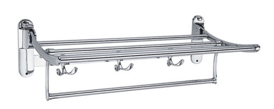 Folding Towel Rack Shelf Bar with Robe Hooks - Bath Towel Holders ...