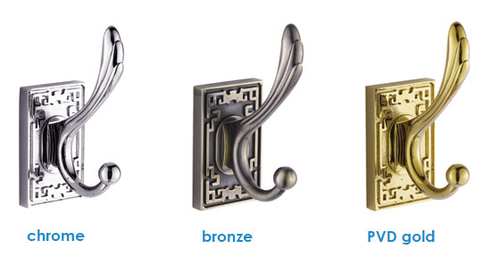 Bathroom Double Robe Hook in Chrome Bronze Gold