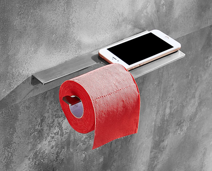 Hotel Style Toilet Roll Holder with Shelf in Satin Brushed Stainless Steel
