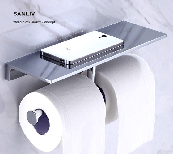 Hotel Luxury Collection Double Roll Toilet Paper Holder with iPhone Storage Shelf Chrome
