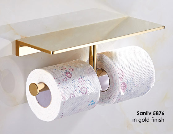 hotel bathroom double toilet roll holder with mobile phone storage shelf pvd golden