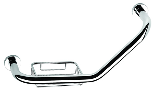 chrome shower grab bar with soap holder 5891 - grab bars