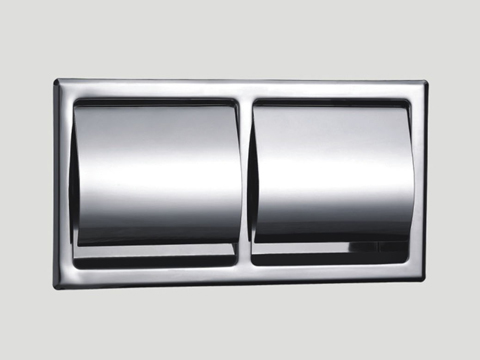 recessed toilet tissue holder with lid in polished chrome finish