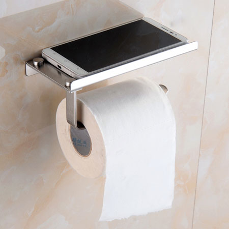 related bathroom accessories toilet roll holder with mobile phone shelf