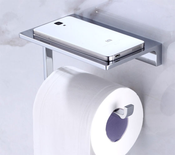 Solid Brass Hotel Toilet Paper Holder With Phone Shelf