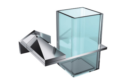 Luxury Square Chrome Tumbler Toothbrush Holder